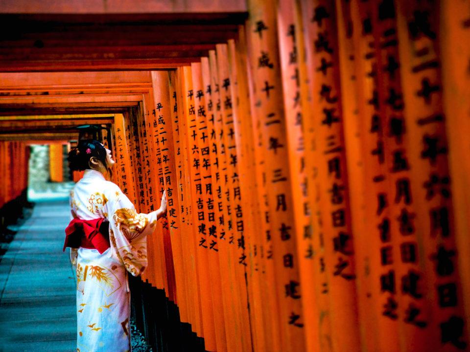 fushimi inari taisha japon puertas naranja