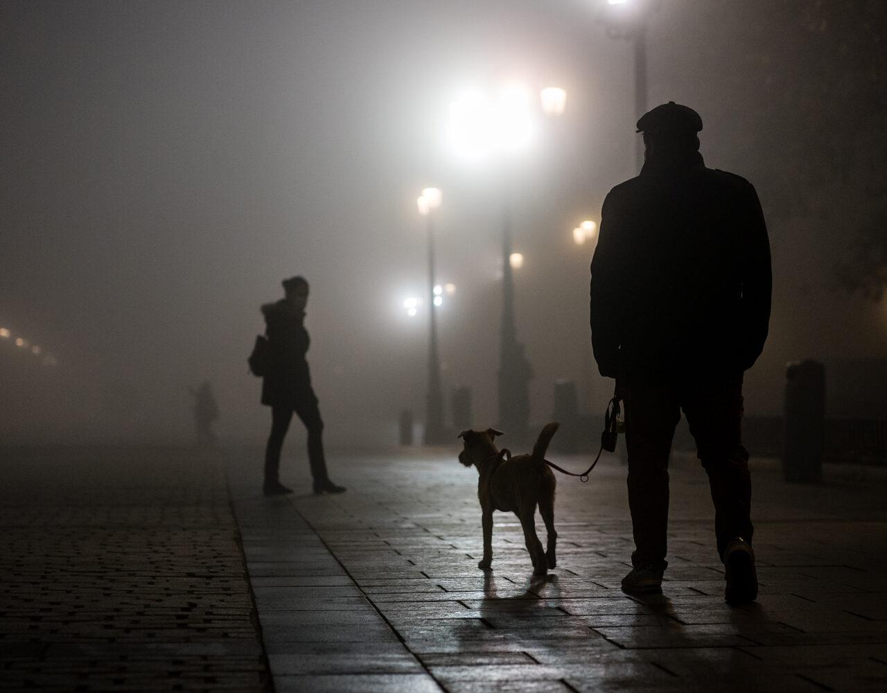 Fuerte neblina en las calles de Madrid.